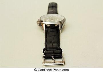isolated object - Wristwatch with kozhennym strap on a white...