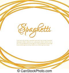 Realistic Twisted Spaghetti Pasta Circle Frame, vector...
