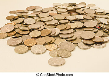 isolated object - Russian coins of different denominations...
