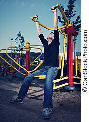 Summer and urban sport - Outdoor workout - young man posing...