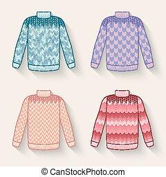 lindo, suéter, Conjunto,