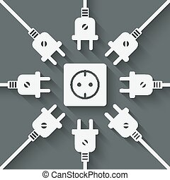 plugs around outlet - vector illustration. eps 10