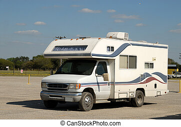 Recreational vehicle in a parking lot, united states