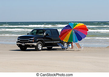 Pickup truck on the beach in southern Texas, United States