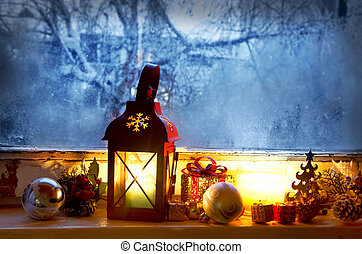 Warm Lantern on Frozen Window,Winter Magic with Christmas...