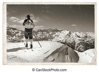 Old photo with old skier - Vintage photo with old skier with...