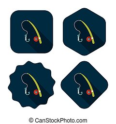 fishing flat icon with long shadow,eps10