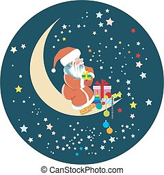 St. Nicholas is sitting on a crescent moon among the stars...