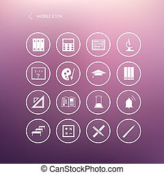 Vector seamless pattern with education mobile icons -...