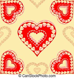 Valentines day  red hearts seamless