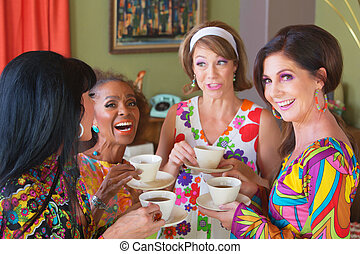 Cute Group of Women Giggling - Cute group of retro style...