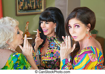 Offended Woman Smoking - Embarrassed trio of women smoking...
