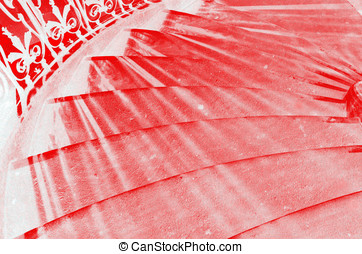 Abstract stairs red