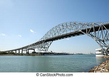 porto, ponte, corpo, Christi, Texas, EUA