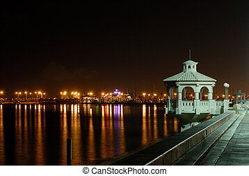 Promenade in Corpus Christi at night, southern Texas USA