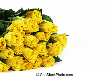 Yellow roses with leaves - natural texture with fresh flower...