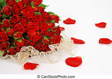 Roses with love - Bunch of red roses isolated on the white...