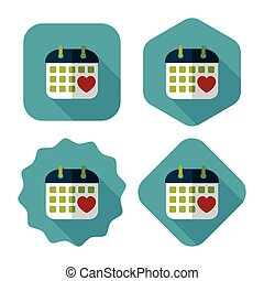 wedding day calendar flat icon with long shadow,eps10