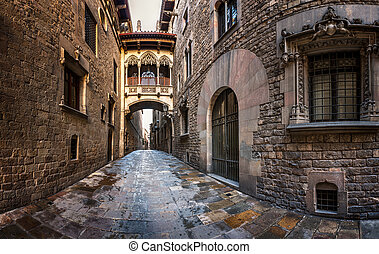 Barri Gothic Quarter and Bridge of Sighs in Barcelona,...