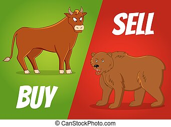 bull and bear - vector illustration of bull and bear with...