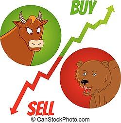 bull and bear1 - vector illustration of bull and bear heads...