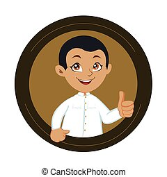 Boy in circle, thumbs up