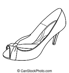 Hand sketch High Heel shoes in Vector