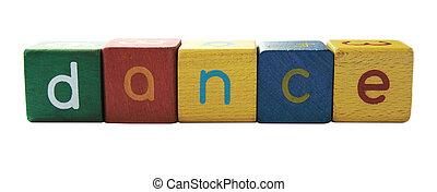 dance in children\'s block letters