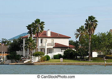 House waterside on Padre Island, Southern Texas, USA