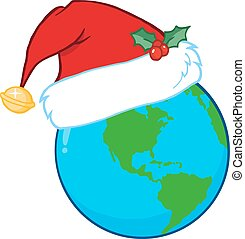Santa Hat On A Earth