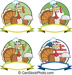 Turkey Chef Labels. Collection