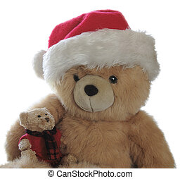Santa teddy with little bear on lap