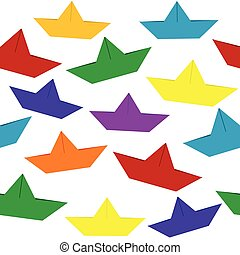 Seamless with colored paper boats