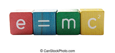 e=mc2 - the famous formula in colorful childrens block...