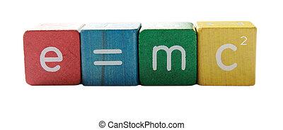 e=mc2 - the famous formula in colorful children\'s block...