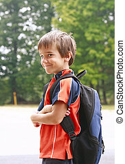 Boy Going to School - Little Boy on First Day of School