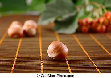 Wood nut on bamboo napkin - Wood nut on a wooden napkin with...
