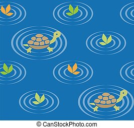 Seamless pattern with funny swiming turtles and plants....