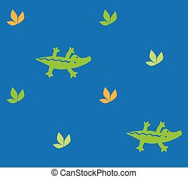Seamless pattern with crocodiles - Seamless pattern with...