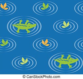 Seamless pattern with funny crocodiles and plants. Children...