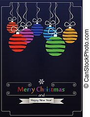 merry christmas - illustration of xmas ball with merry...