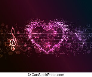 Music Background - Vector dark background with a heart of...