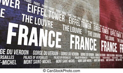 France Flag Tourism Attractions - Scrolling banner with the...