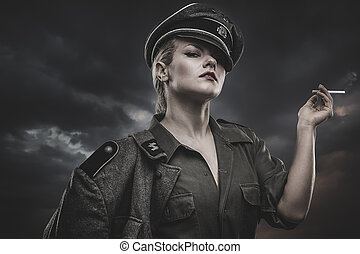 reenactment, Official German woman, representation of...