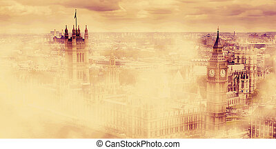 Big Ben, the Palace of Westminster in morning fog. London, UK.