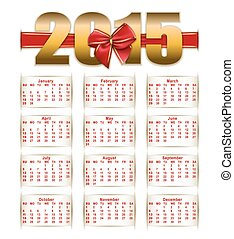 Elegant template of calendar - Elegant template for 2015...