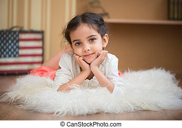 Portrait of cute little latino girl