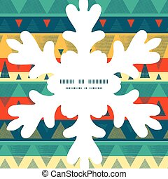 Vector vibrant ikat stripes Christmas snowflake silhouette...
