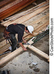 Construction worker - A carpenter working on a consruction...