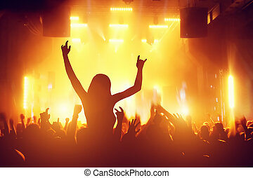 Concert, disco party People having fun in night club -...